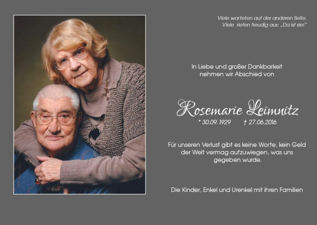 Leimnitz Rosemarie geb Gauger