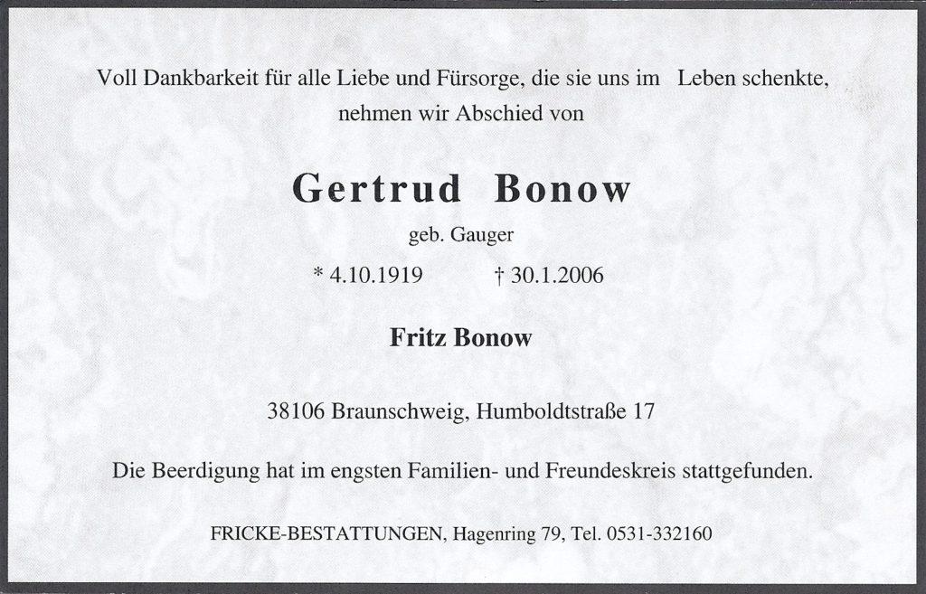 Sterbeanzeige Gertrud Bonow geb Gauger