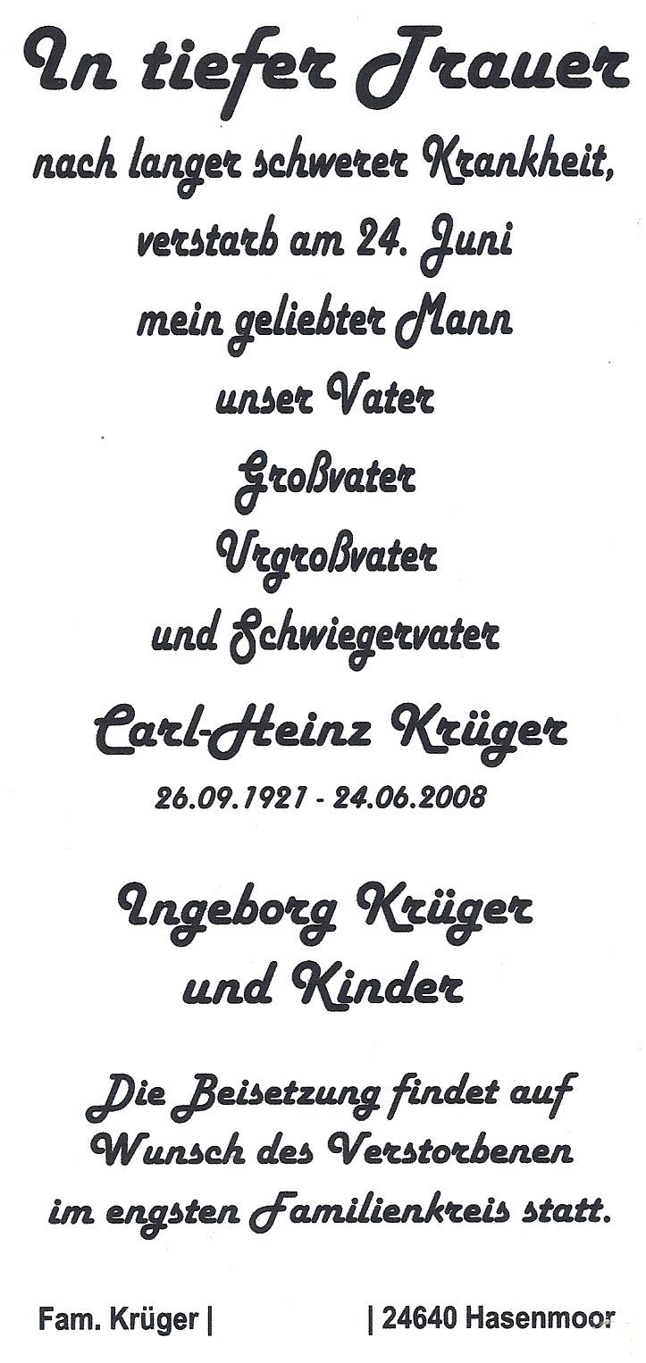 Sterbeanzeige Heinz Krüger
