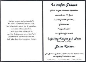 Sterbeanzeige Ingeborg Krüger geb Pries0001
