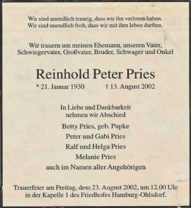 Sterbeanzeige Reinhold Peter Pries