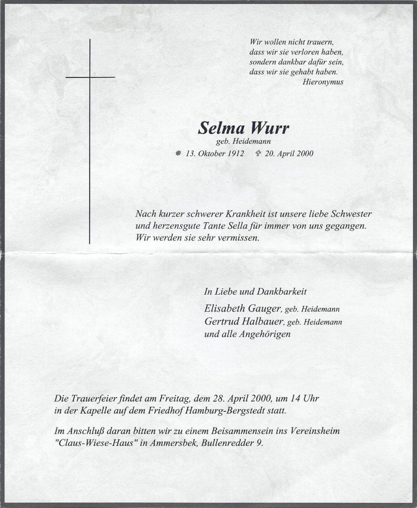 Sterbeanzeige Selma Wurr geb Heidemann